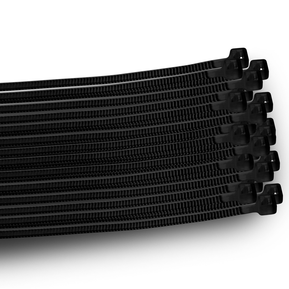 1000 Stück Kabelbinder Set 1000 St  Schwarz Kabelband 180 200 250// 2,5 3,4 3,6