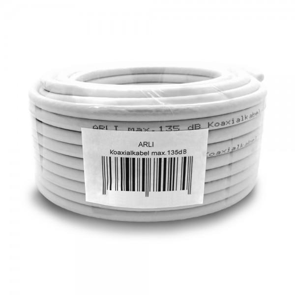 ARLI 50m Koaxialkabel max. 135 dB Kabel 135dB satelliten kabel digitaltauglich konfektionierte TV-Kabel DVB-S DVB-C DVB-T 4-fach 5fach schirmung meterware verlegekabel Adapter doppel schüssel 130db 120db 110db Weiß Internetanschluss KabelBW BW Anlagen Ins