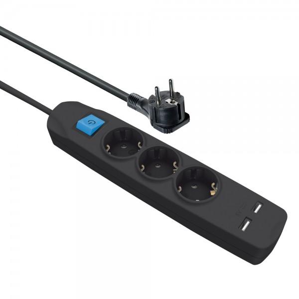 Steckdosenleiste 3 fach mit 2 USB Ladebuchsen Schalter flachem Winkelstecker 5 m Kabel schwarz