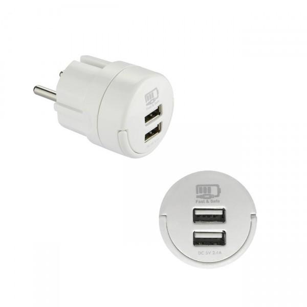 2x USB Netzteil Ladeadapter Stecker mit praktischem Klappgriff Ausgang 2,4A Ladekabel Adapter