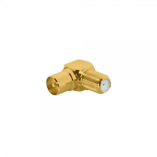 ARLI Winkeladapter Koaxialstecker 9,5mm - F-Kupplung vergoldet -100er Beutel
