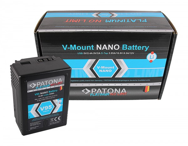 arli patona akku premium nano V95 Sony V-Mount 95 Wh DSR 600P 650P 652P HDW 800P PDW 850 BP-150w RED ARRI ersatz battery digitalcamera comcorder passend batteries batterie V Mount qualität 6400mAh