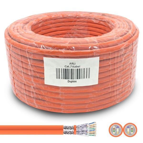 ARLI Cat7 Duplex Verlegekabel 50 m S/FTP PIMF Halogenfrei Twin Kabel Netzwerkkabel