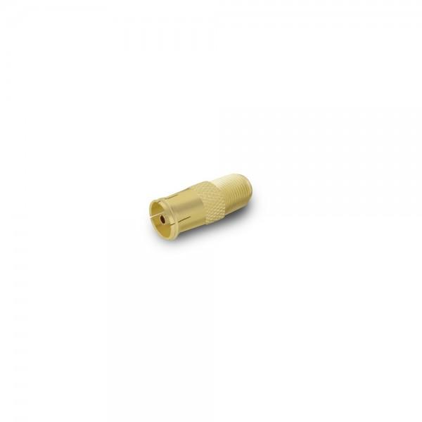 ARLI Adapter IEC - Antennenkupplung vergoldet 9,5 mm auf F-Kupplung -100er Beutel