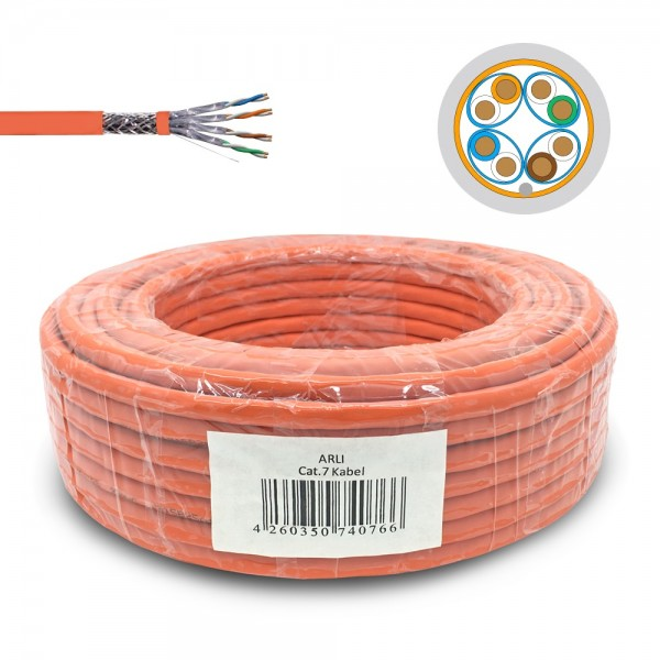 arli lan kabel 50m netzwerkkabel ethernet cat 7 6 cat6a patchkabel lankabel verlegekabel verlege datenkabel kat7 kat simplex intallationskabel it daten patchpanel netzwerkdose netzwerkschrank server orange patchlabel rj45 stecker unterputz AWG23